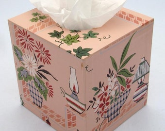 Margie's Pink Passion 1940's Vintage Wallpaper Tissue Box Cover