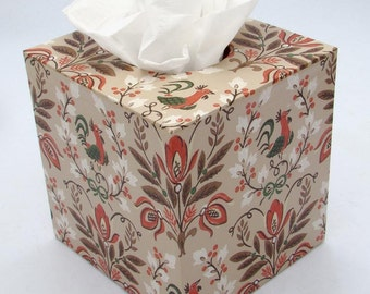 Country Folk Rooster and Leaf in Brown and Orange 1950's Vintage Wallpaper Tissue Box Cover