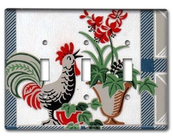 Country Cottage Rooster 1950's Vintage Wallpaper Triple Switch Plate