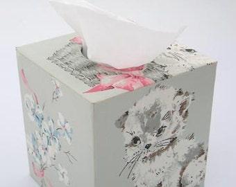 Fluffy White Kittens on Blue 1950s Vintage Wallpaper Tissue Box Cover