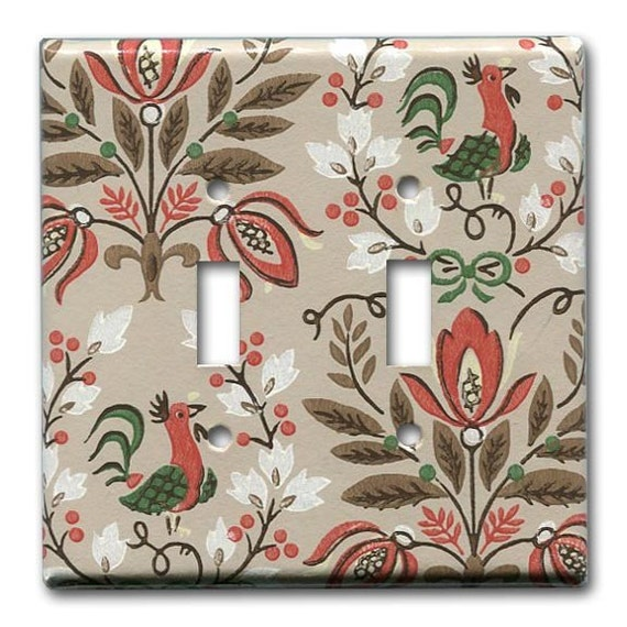 Folksy Country Rooster 1950's Vintage Wallpaper Double Switch Plate