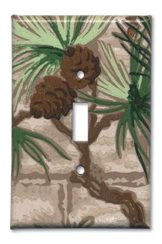 Classic Pine Cone Kitsch 1950s Vintage Wallpaper Switch Plate