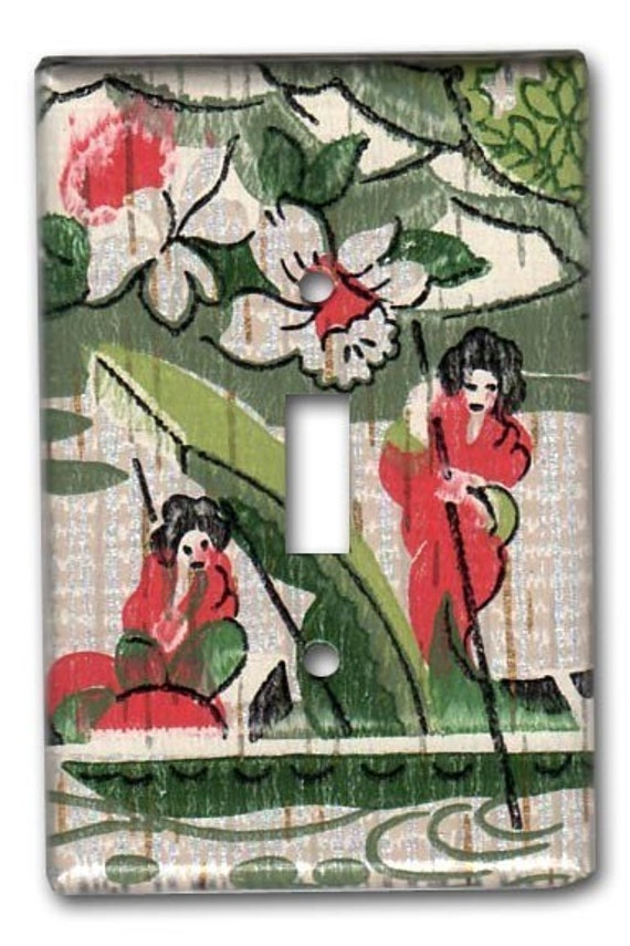Geishas Boating in Japanese Water Garden 1950's Vintage Wallpaper Switch Plate