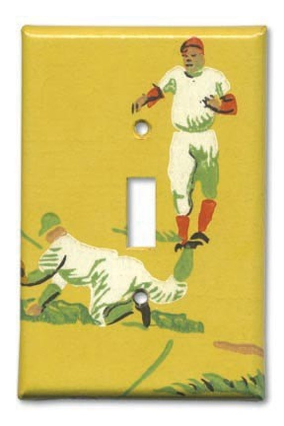 Baseball Classic 1950's Vintage Wallpaper Switch Plate