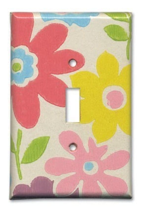 Marsha's Fab Floral 1960's Vintage Wallpaper Switch Plate