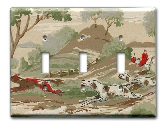 Fox on the Run 1950's Vintage Wallpaper Triple Switch Plate