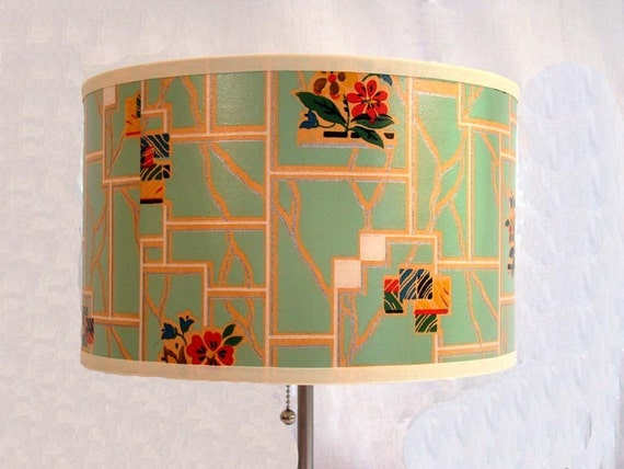 Drum Shade 1930's Antique Wallpaper Deco Floral