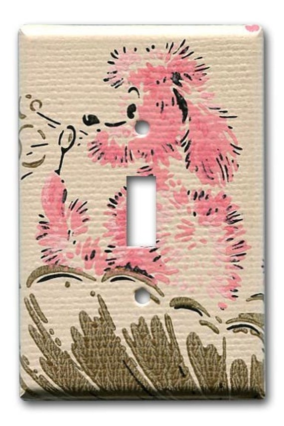 Bathing Pink Poodle 1950's Vintage Wallpaper Switch Plate