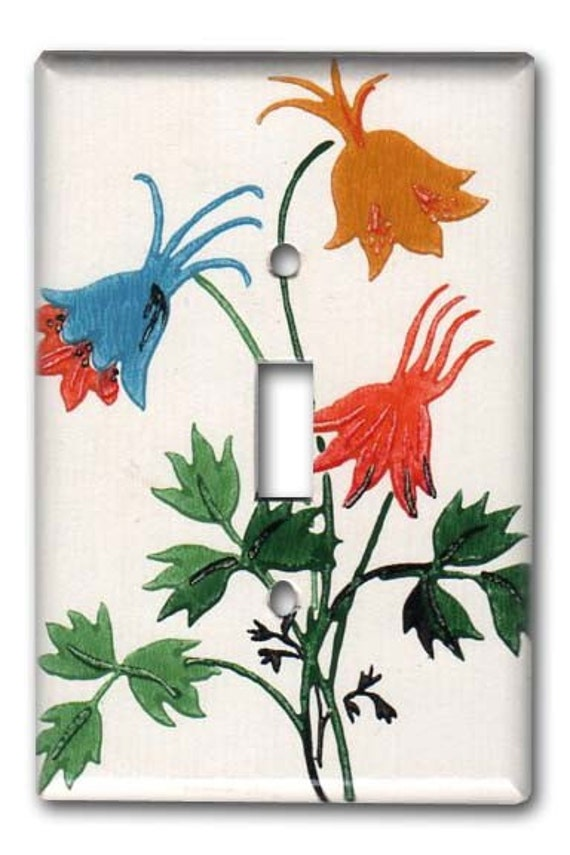 Wild Columbine Flowers Garden 1950's Vintage Wallpaper Switch Plate