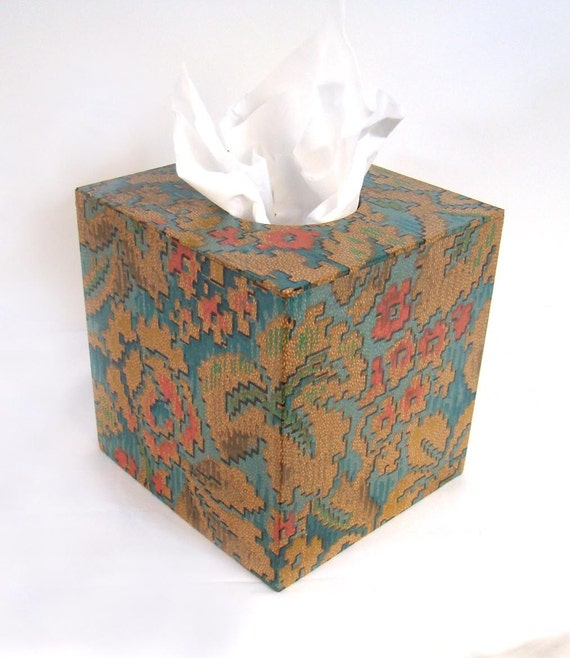 Floral Tapestry 1920's Antique Wallpaper Tissue Box Cover