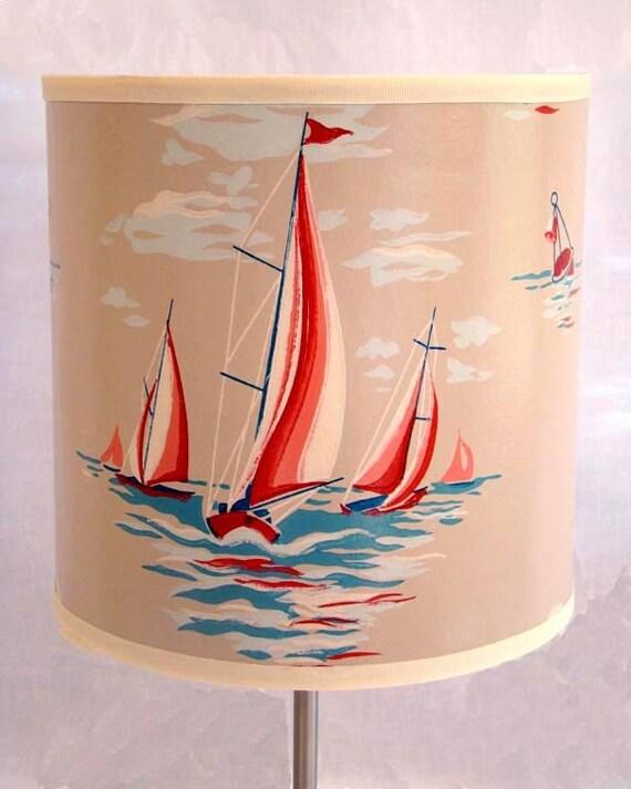 Drum Shade 1940's Vintage Wallpaper Sailboat Regatta