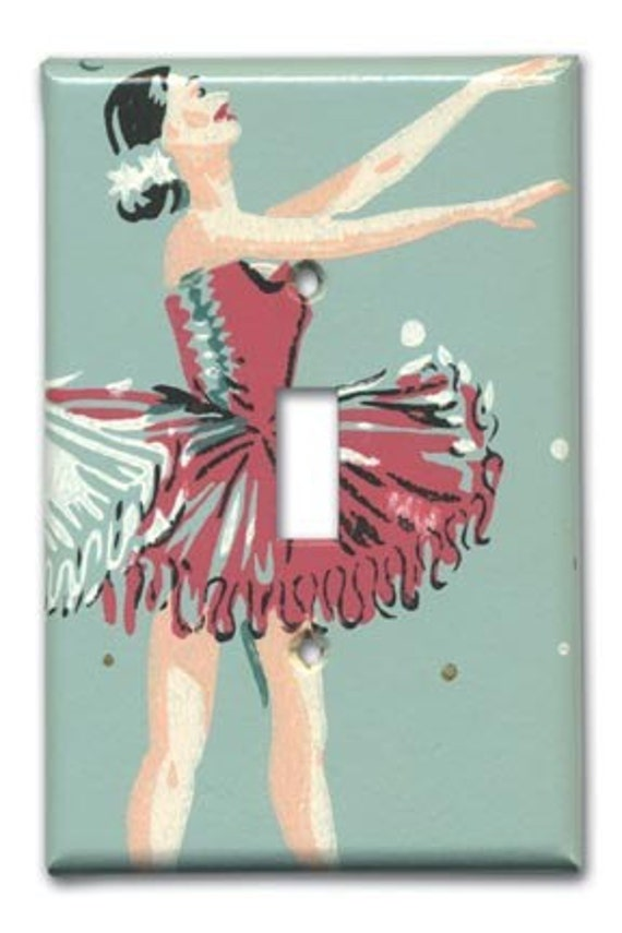 Dancing Ballerina 1950's Vintage Wallpaper Switch Plate