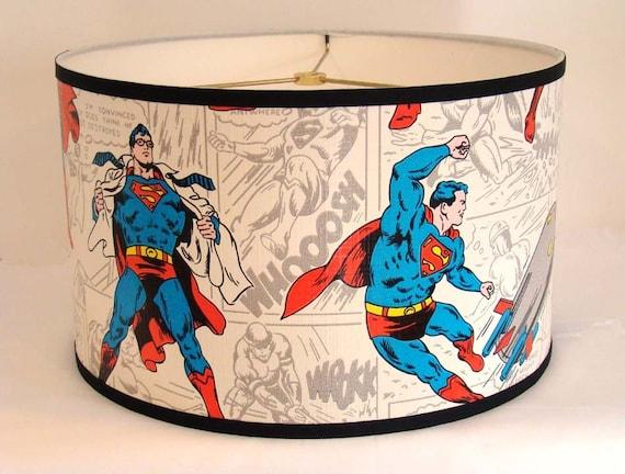 Vintage Wallpaper Drum Shade 1970's Superman the Man of Steel