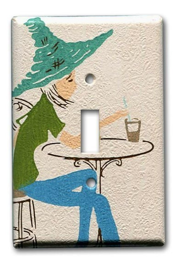 Mod Girl 1960's Vintage Wallpaper Switch Plate