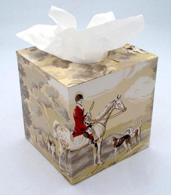 The Fox Hunt Equestrian 1950's Vintage Wallpaper Tissue Box Cover