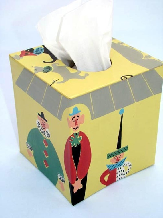 Circus Clowns Under the Big Top 1940's Vintage Wallpaper Tissue Box Cover