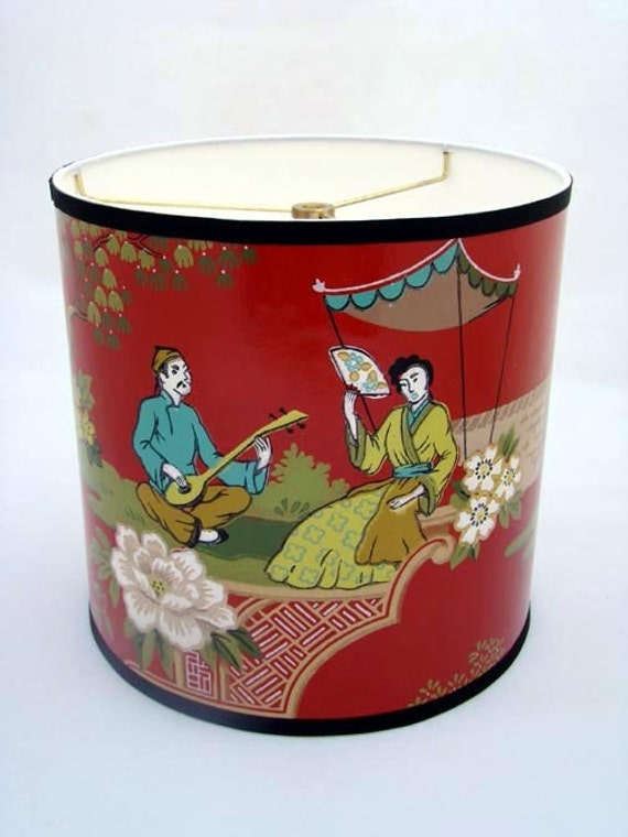 Vintage Wallpaper Drum Shade 1950's Geisha Serenade