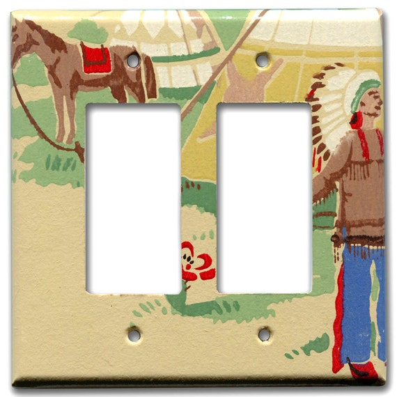 Indian Chief with Horse and Teepee Double Decora Plate 1940's Vintage Wallpaper