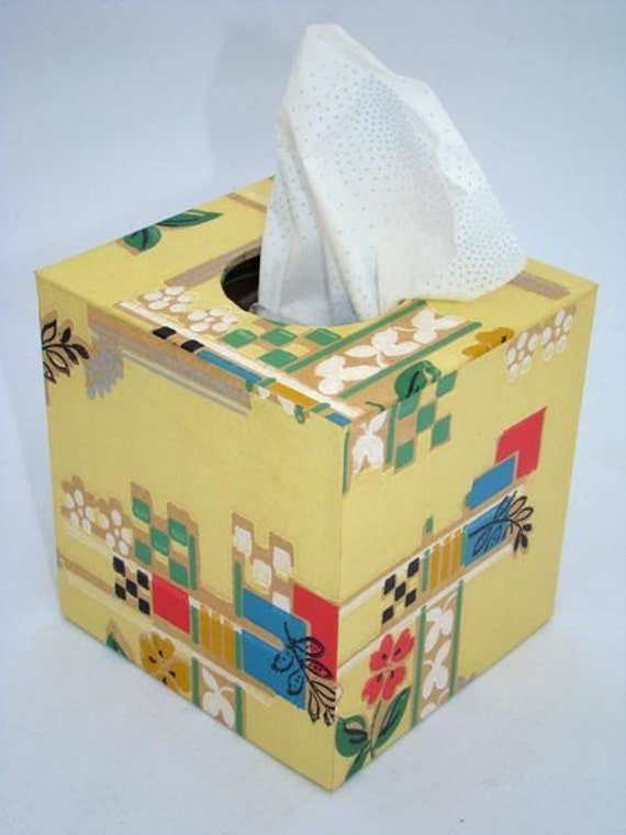 Classic Yellow Floral 1930's Antique Wallpaper Tissue Box Cover