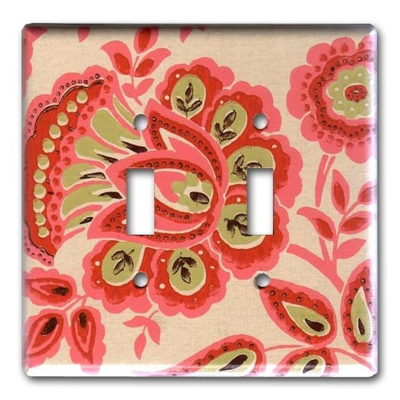Funky Fab Floral 1960's Vintage Wallpaper Double Switch Plate