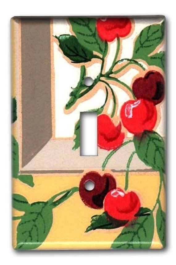 Very Cherry Kitchen 1940's Vintage Wallpaper Switch Plate