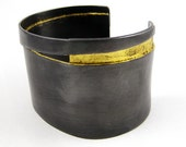 Sliver Cuff Bracelet in Oxidized Copper with 24k Gold Leaf