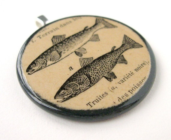 Trout - PENDANT - 1924 French Dictionary Illustration