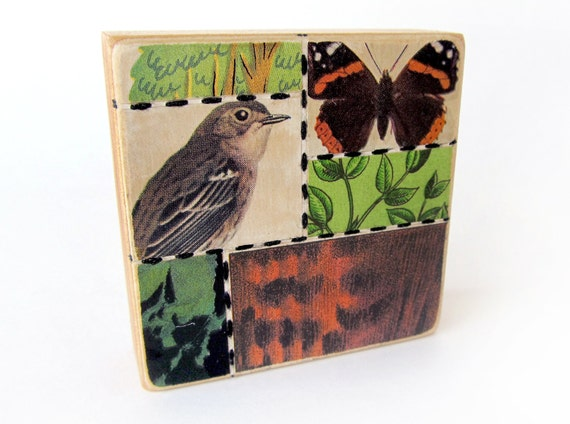 Bird 'n Butterfly - Collage ART BLOCK - Original Mixed Media Collage