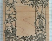 Beach Frame Rubber Stamp