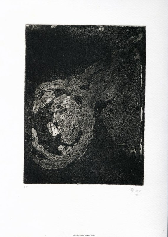 ORIGINAL and Unique Sugarlift / Aquatint Etching - 'Untitled' Black State