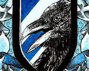 Ravenclaw Crest ACEO 2.5x3.5 Print Mini Trading Card Art