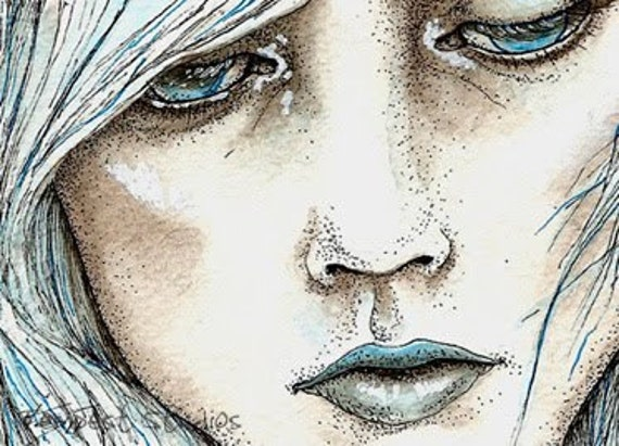 Frozen Girl Original ACEO 2.5 x 3.5 Watercolor Painting Trading Card Art