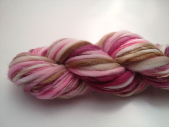 Hand Spun Thick and Thin Yarn -- Merino Wool