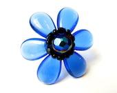 Blue Anemone Flower Ring