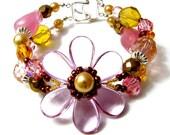 RESERVED FOR RUTH ANN Rose-Mallow Double Strand Bracelet