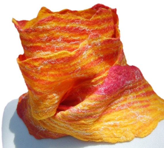 Handmade Shibori Style Wool and Silk Nuno Felted Scarf in Red, Orange, and White