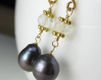 Dark Blue Pearl and Moonstone Earrings