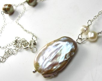Funky Pearl Drop Necklace