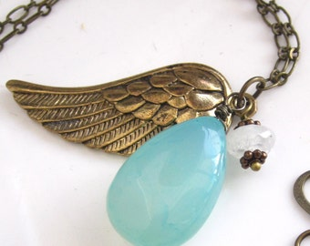 Angel Wing and Aqua Chalcedony