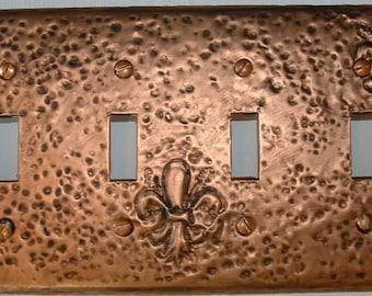 Quad copper antique fleur de lis