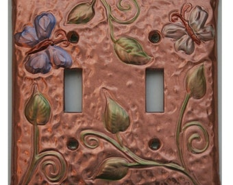 Copper Butterfly and Vine Light Switch Toggle Plate