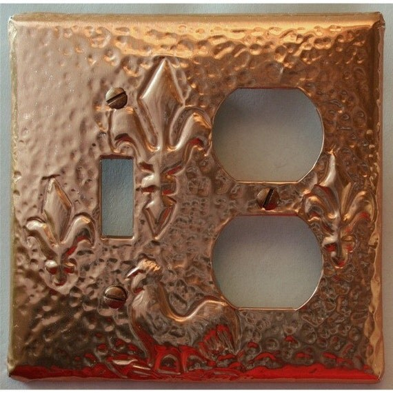 Fleur De Lis And Rooster Copper Light Switch Plate