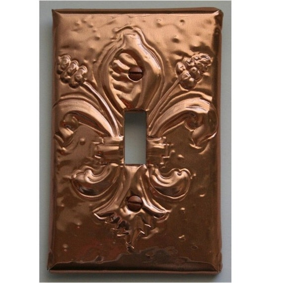 Copper Fleur De Lis Light Switch Plate Cover