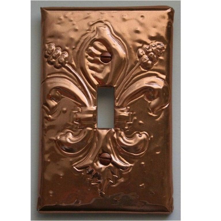 Copper Fleur De Lis Light Switch Plate Cover