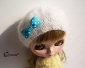 Babydoll Longhair Angola White Beret for Blythe Doll