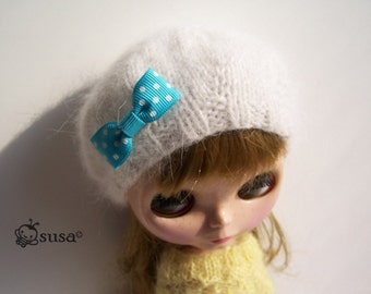 Babydoll Longhair Angola White Beret for Blythe Doll