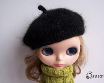 Longhair Angola Wool Black Beret for Blythe Doll