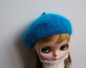 Longhair Angora Wool Peacock Blue Beret for Blythe Doll