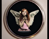 Victorian Angel Pill box Pillbox Case Holder for Vitamins Drugs Birth Control Angelic Girl Praying Winged Child Holds Guitar Picks