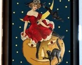 Halloween Witch and Pumpkin Cigarette Case Black Cat Horror Psychobilly Wallet